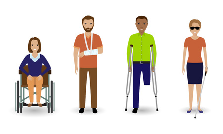 Disability people. Group of invalid men and women isolated on a white background. Flat style vector illustration. Illustration