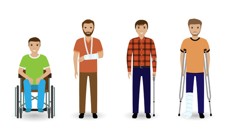 Disability people. Group of four invalid men isolated on a white background. Flat style vector illustration.