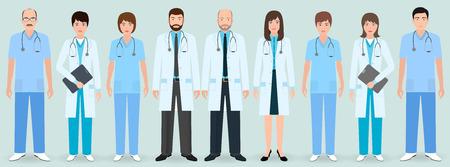 Hospital staff. Group of nine men and women doctors and nurses. Medical people. Flat style vector illustration. Vector Illustration