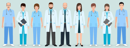 Hospital staff. Group of nine men and women doctors and nurses. Medical people. Flat style vector illustration.