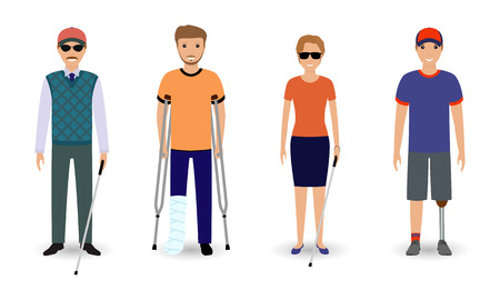 Disability people concept. Group of invalid men and women isolated on a white background. Flat style vector illustration.