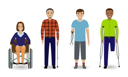 Disability people concept. Group of woman on a wheelchair and invalid men isolated on a white background. Flat style vector illustration.