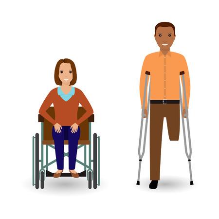 las personas de discapacidad concepto. Mujer inválida en silla de ruedas y hombre afroamericano discapacitados con muletas aislados sobre un fondo blanco. ilustración vectorial de estilo plano.