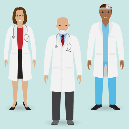 Hospital staff concept. Group of old doctor and young male and female doctors standing together. Medical people. Flat style vector illustration. Ilustracja