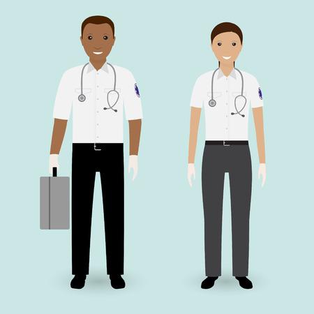Hospital staff concept. Paramedics ambulance team. Male and female emergency medical serviice employee. Flat style vector illustration.