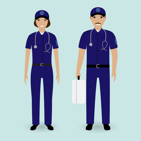 trained nurse: Hospital staff concept. Paramedics ambulance team. Male and female emergency medical serviice employee in uniform. Flat style vector illustration. Illustration