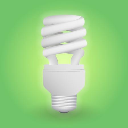 Economical fluorescent light bulb. Save energy lamp. Realistic vector illustration.