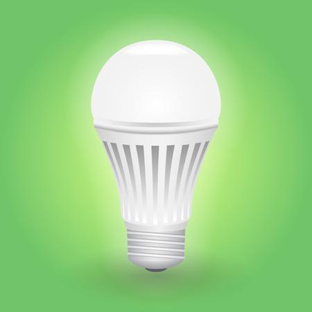 Economical LED light bulb. Save energy lamp. Realistic vector illustration.