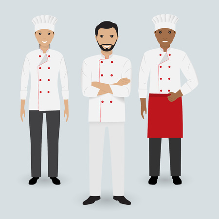 Chef and two cook in uniform standing together in three different poses. Cooking people characters. Flat illustration.