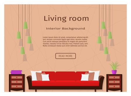 porch: Graceful living room interior banner for your web design. Flat vector illustration for website designers. Illustration
