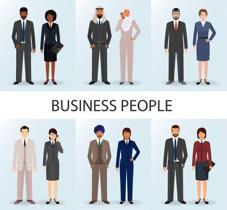 International business team. Set of couples office employee people. Teamwork concept. Illustration.