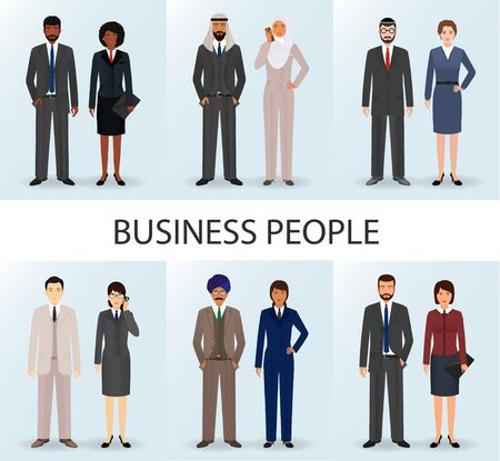 International business team. Set of couples office employee people. Teamwork concept. Illustration.