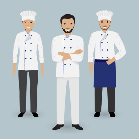 learning to cook: Chef and two cook in uniform standing together. Cooking people characters. Flat vector illustration. Illustration