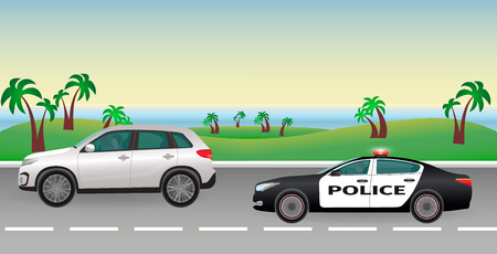 pursuit: Police pursuit on a road. Police job concept. Police car with flashing lights pursues the offender. Flat style vector illustration. Illustration