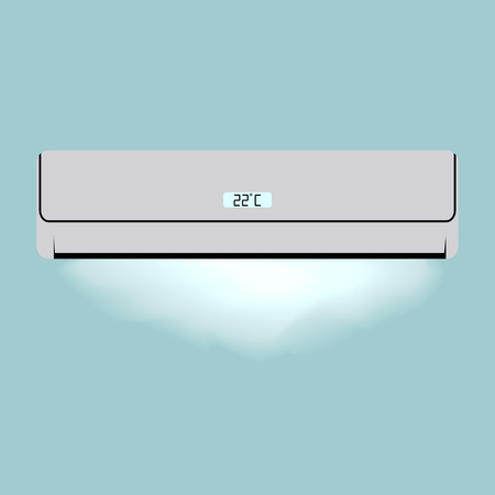 climatic: Air conditioneer for your design. Domestic electronics. Climatic equipment. Flat vector illustration.