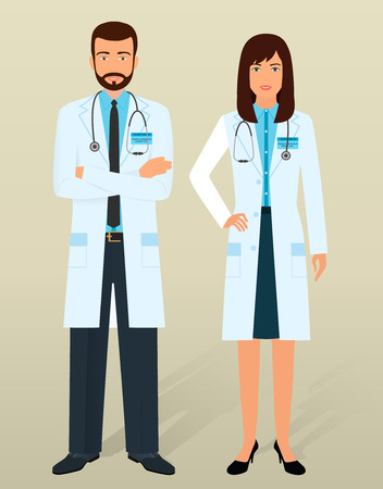 physicians: Doctors staff. Medical personal in different poses. Male and female physicians. Flat vector illustration.