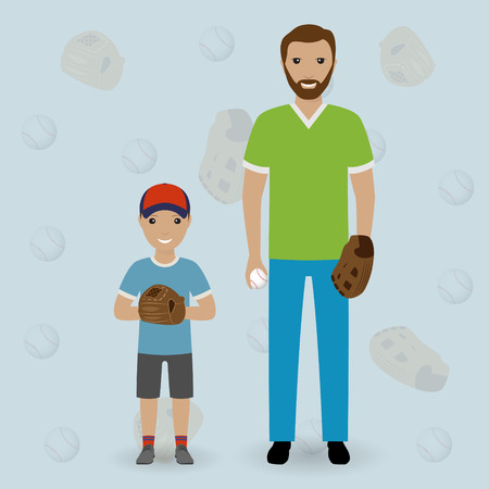 Father and his little son going to play baseball. Dad and kid throw the ball. Happy family concept. Flat vector illustration.