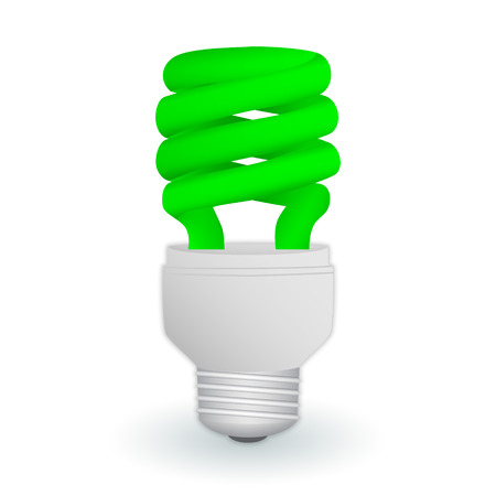Fluorescent green economical light bulb isolated on a white background. Save energy lamp. Realistic vector illustration. Illustration