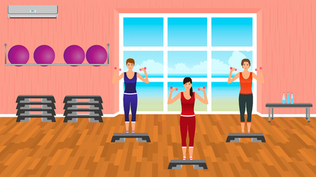 aerobics class: Fitness people in sports wear. Group of women in the gym. Sport characters. Helthy lifestyle concept. Vector illustration.