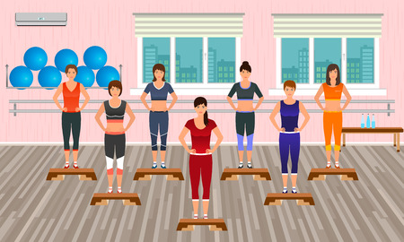 aerobics class: Fitness people in the gym. Athletic women doing exercises. Sport characters. Helthy lifestyle concept. Vector illustration. Illustration
