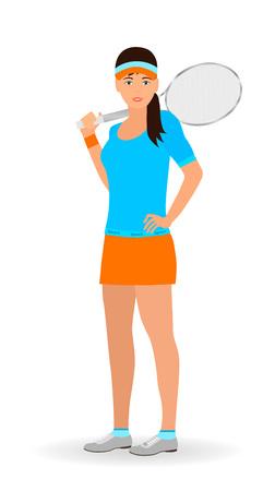 Sport mensen concept. Tennisvrouw met racket op een witte achtergrond wordt geïsoleerd die. Platte vectorillustratie