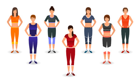 aerobics class: Fitness people in sports wear. Group of women doing pilates exercises. Sport characters. Healthy lifestyle concept. Vector illustration.