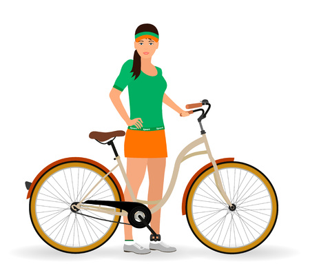 Sportswoman standing with a bicycle on a white background. Sport characters. Healthy lifestyle concept. Vector illustration. Illustration