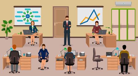 teamwork: Teamwork business situation. Illustration