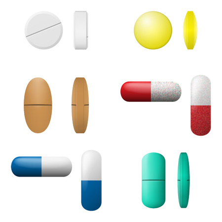 Medicament symbols isolated on a white layout.