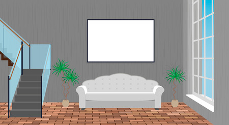 modern living room: Mockup living room interior with empty frame, sofa, brick floor and second floor stairway. Vector illustration.