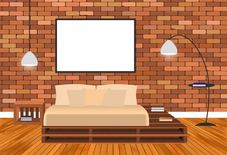 Mockup living room interior in hipster style with empty frame, bed, lamps and brick wall. Vector illustration.