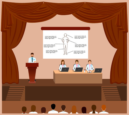 congress: Medical conference session in a assembly hall interior. Spokesperson standing behind the podium and doctors and nurses listening him. Medicine staff. Vector illustration.