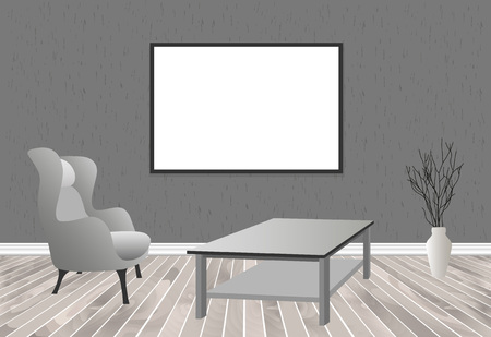 living room wall: Mockup living room interior in hipster style with frame, table, armchair and concrete wall. Loft dwelling design. Vector illustration.