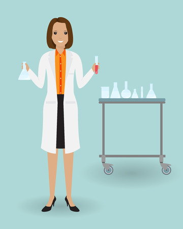 Medical laboratory assistant standing with a glassware. Medicine tester with blood sample. Medical employee. Doctor specialization concept. Vector illustration. Illustration