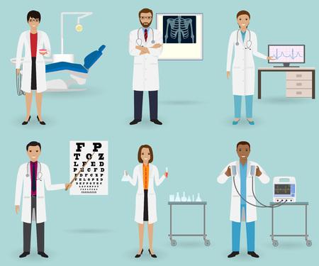 Trattamento medico con medici di diverse specialità e attrezzature. Occupazione del personale di medicina. Gruppo di impiegati ospedalieri. Illustrazione vettoriale Archivio Fotografico - 75144957