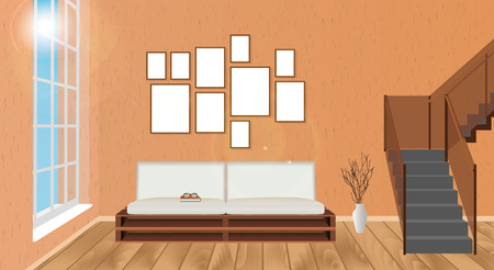 modern living room: Mockup living room interior with empty frames, sofa, parquet flooring, second floor stairway and sun glowing. Vector illustration.
