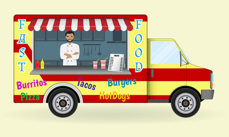 car: Food truck with a cook inside. Fast-food sailing car. Street nosh menu on wheels concept. Vector illustration.