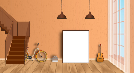 second floor: Mockup living room interior with empty frame, bicycle, guitar, wood floor and second floor stairway. Vector illustration.