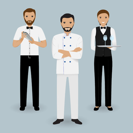 Chef cook, waitress in uniform and barman standing together. Restaurant people characters. Vector illustration. Illustration