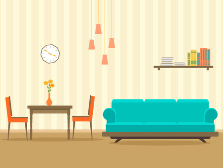 Interior design in flat style of living room with furniture, sofa, , table, bookshelf, flower, lamp and clock. Vector illustration.