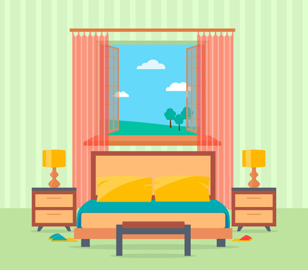 nightstands: Bedroom interior design in flat style including bed, table, lamps, nightstands and window. Flat vector illustration. Illustration
