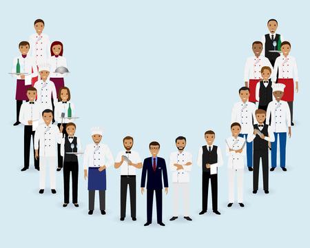 レストラン ・ チーム。一緒に立っているマネージャー シェフ ウェイター バーテンダーのグループ。フード サービス スタッフ。ベクトルの図。