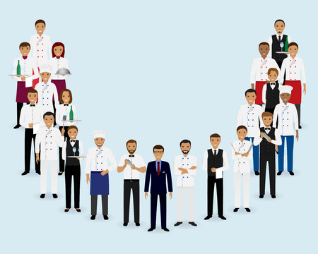 Restaurant team. Group of manager chef waiters bartenders standing together. Food service staff. Vector illustration.