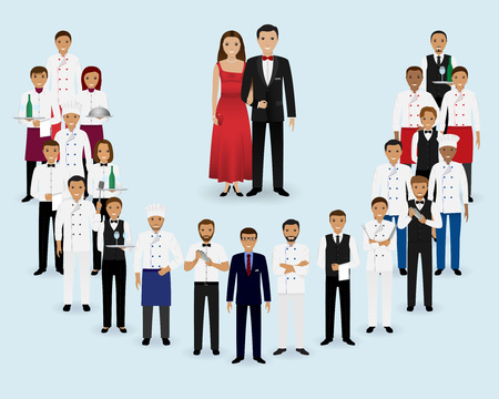 Restaurant team. Group of manager, chef, waiters, waitresses, cook, bartenders and couple of visitors standing together. Food service staff website banner. Vector illustration.