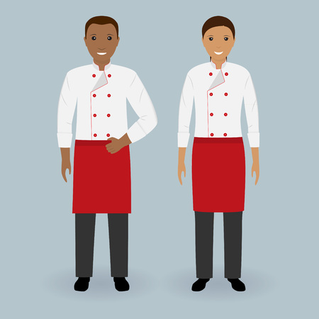 hotel staff: Couple of male and female chefs standing together in uniform. Cooking food characters. Restaurant team concept. Vector illustration.
