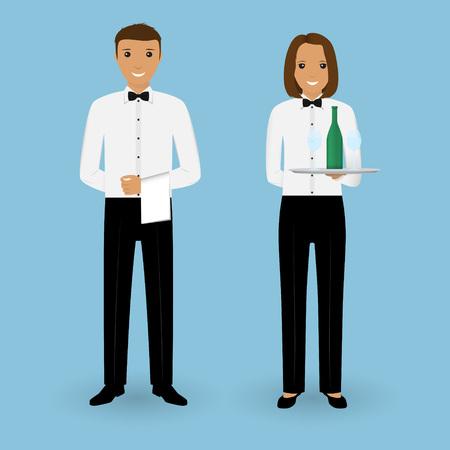 Paar mannelijke ober en vrouwelijke serveerster met gerechten en in uniform. Restaurant team concept. Medewerkers personeel van de catering. Vector illustratie.