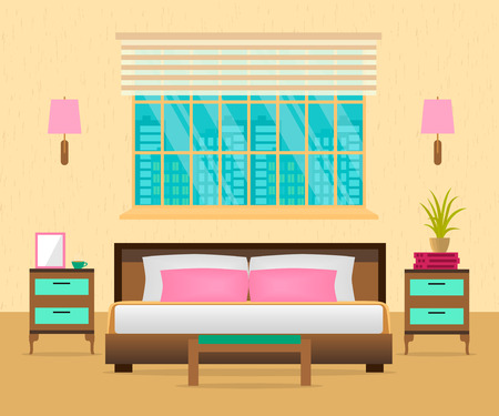 Interior bedroom with furniture, lamps and cityscape. Vector illustration in flat style. Illustration