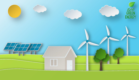 Eco energy vector illustration in paper art style. Green power conept. Solar and wind energy usage. Illustration