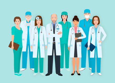 Hospital staff. Group of eight men and women doctors and nurses characters standing together. Medical people. Flat style vector illustration.