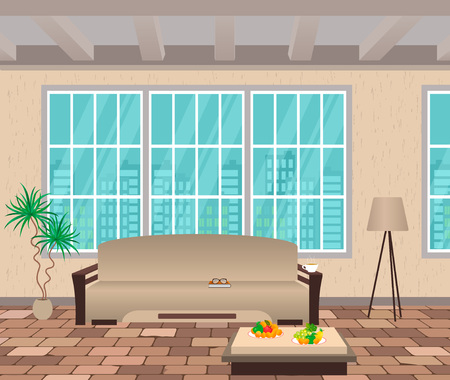 flooring: Living room interior. Modern design of domestic room with cityscape outside window, sofa, lamp and brick flooring. Vector illustration.